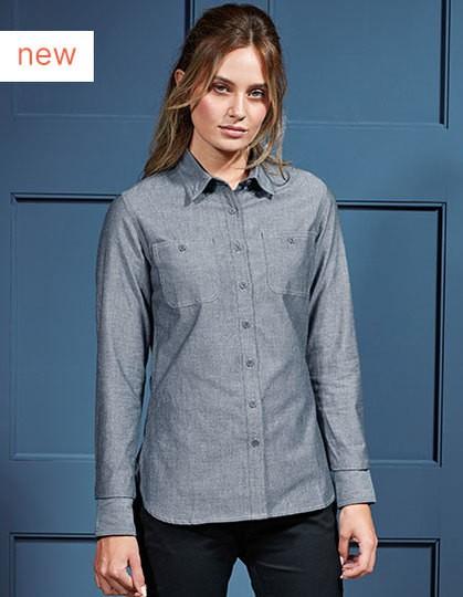 Women`s Organic Chambray Fairtrade Long Sleeve Shirt in 2 Farben