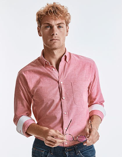 Men`s Long Sleeve Tailored Washed Oxford Shirt 4 Farben